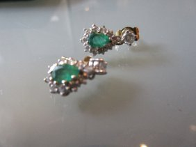 Pair Of 18ct Gold Diamond And Emerald Set Drop Earrings