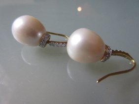 Pair Of 18ct Yellow Gold Freshwater Pearl And Diamond
