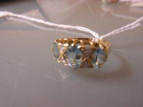 18ct Yellow Gold Aquamarine And Diamond Set Half Hoop