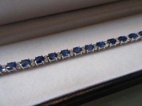 18ct White Gold Sapphire And Diamond Line Bracelet, The