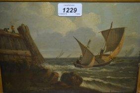 19th Century Oil On Panel, Coastal Scene With A Sailing