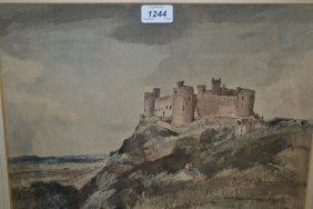 Arthur E. Davies, Watercolour, Harlech Castle, Signed