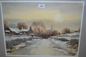Tom Sykes, Watercolour, Winter Landscape Near Bramhope,