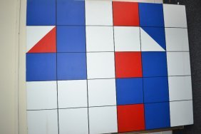 Large Abstract Acrylic On Canvas, Geometric Forms,