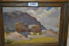 Two Small Framed Oils, Fishermens Huts In A Coastal