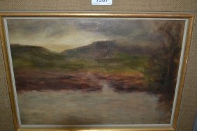 Oil On Panel, Landscape With Lake And Landscape Study