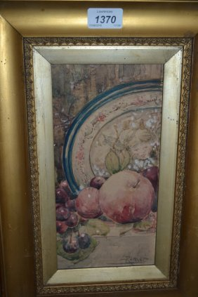 Two Framed Watercolours, Still Life With Apples And