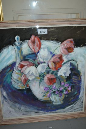 Gouache Painting, Still Life With Tulips, Monogrammed,