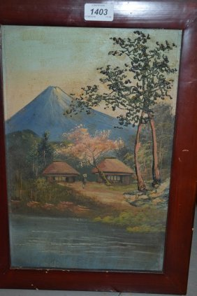 Pair Of Japanese Oil Paintings On Board, Landscapes