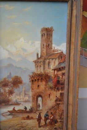 Felice A. Rezia, Pair Of Oils On Board, Scene In The