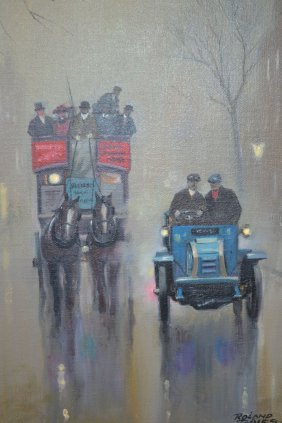 Roland Dales, Signed Oil On Canvas, Foggy Street Scene