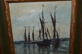 Two Framed Oils, Barges Moored In An Estuary And Port