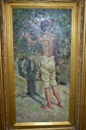 Follower Of Henry Scott Tuke, Oil On Panel, Portrait Of