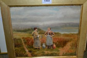 19th Century Oil On Canvas, Two Figures In Conversation