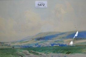 Two Framed Watercolours, Figure Working In A Landscape,