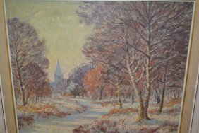David Birch, Oil On Board, Snow Scene At Kingswood