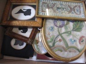 Pair Of Oval Gilt Framed Needlework Flower Pictures,