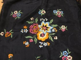 Early To Mid 20th Century Silk Embroidered Shawl With