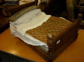 19th / 20th Century French Dolls Bed With Carved And