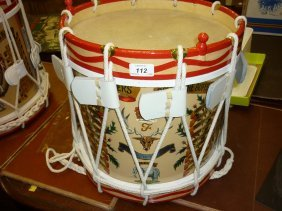 Brass Marching Drum Painted With The Crest Of The 2nd
