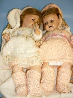 Pair Of 1920's Heubach Koppelsdorf Articulated Dolls,