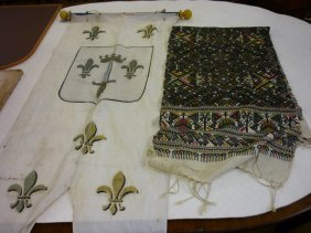 Mid 20th Century French Fleur De Lis Banner, Together