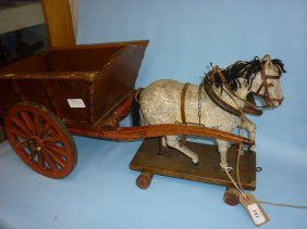 19th Century Childs Pull-along Wooden Horse Together