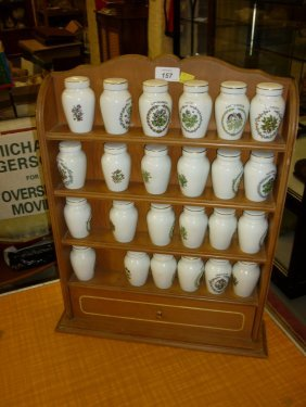 Set Of Twenty Four Franklin Mint Spice Pots Mounted On