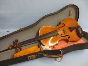 Sarasate Violin With A 14in Two Piece Back Signed With