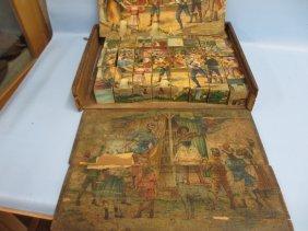 Victorian Wooden Block Puzzle In Original Box (a/f)
