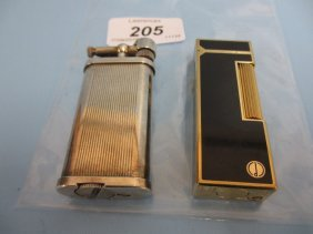 Dunhill Silver Plated Cigarette Lighter Together With