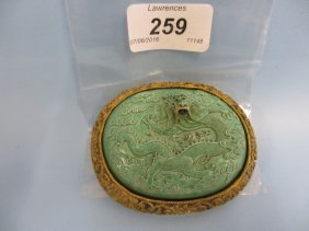 Chinese Gilt Metal Mounted Turquoise Pottery Buckle,