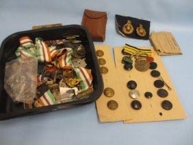 Quantity Of Mixed Military Badges And Buttons And Other