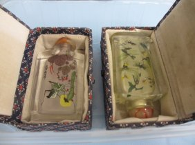 Two Chinese Interior Painted Glass Snuff Boxes In