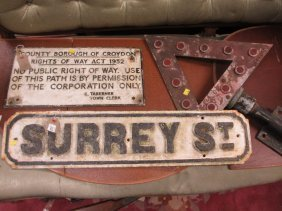 Cast Iron Street Sign For Surrey Street, Croydon,