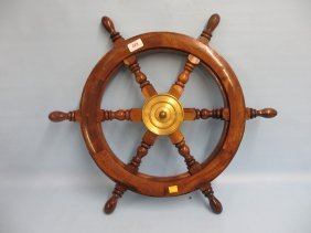 Small Brass Mounted Wooden Ship's Wheel