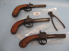 Two 19th Century Screw Barrel Percussion Pocket Pistols