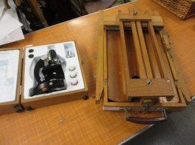 Student's Lunax Microscope In Original Box And A