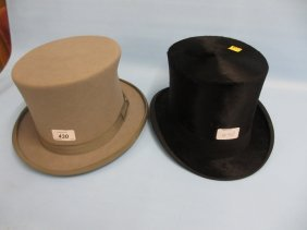 Rowans Glasgow Silk Top Hat Together With A Grey Felt