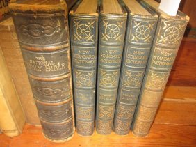 Large 19th Century Family Bible Together With Four