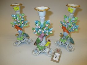 Pair Of Sitzendorf Porcelain Candlesticks Mounted With