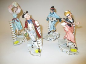 Set Of Four Capo Di Monte Figures Of Musician, Drinker,