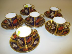 Set Of Six Caverswall Imari Pattern Coffee Cans With