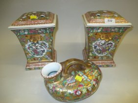 Pair Of Oriental Square Flared Rim Flower Vases With