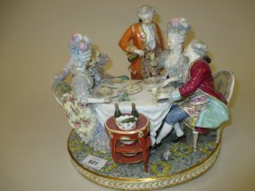 Large Continental Porcelain Figural Group Of Figures At