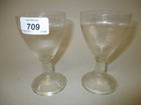 Pair Of Lalique Goblets With Vine Decorated Stems