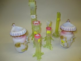 Group Of Eight Victorian Vaseline Thorn And Other Glass