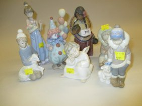 Seven Various Lladro Figures, Animals And Children