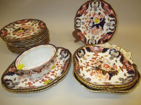 Royal Crown Derby Imari Pattern Nineteen Piece Dessert