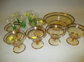 Art Deco Glass Sundae Set And Other Miscellaneous